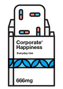 Illustration of capsules in a box titled 'Corporate Happiness. Daily use.'