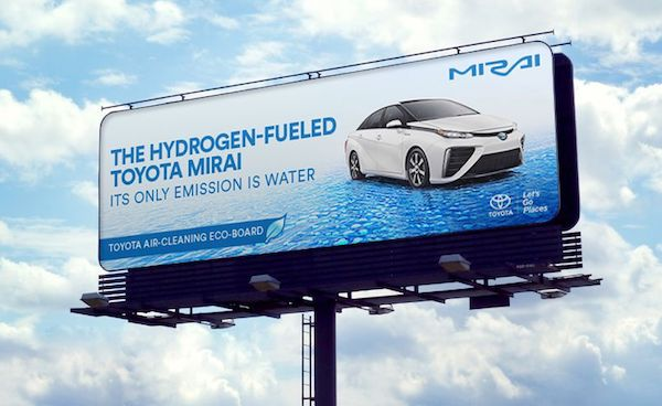 Billboard ad for Toyota's hydrogen-powered car