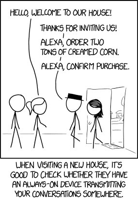 cartoon where visitors arrive and shout purchase orders at Alexa