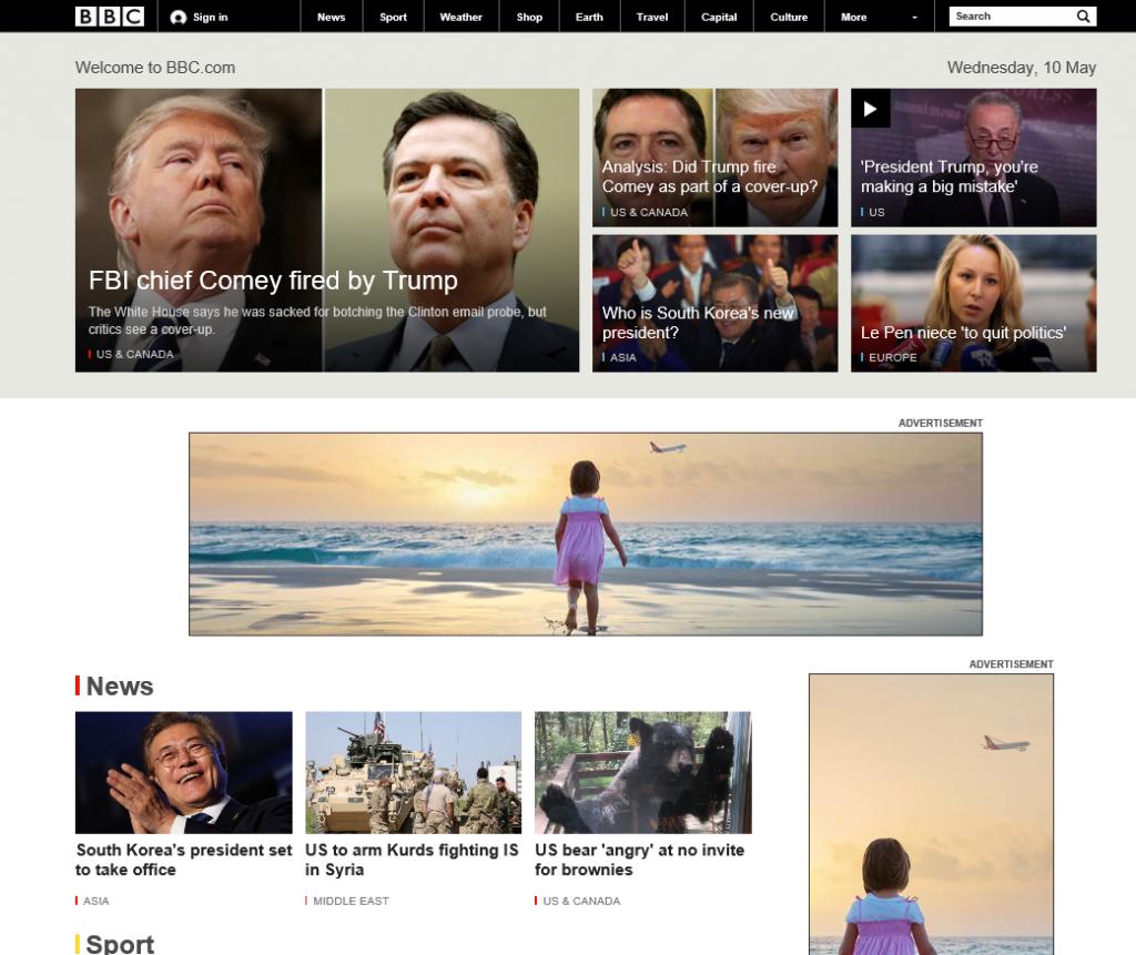 BBC.com home page