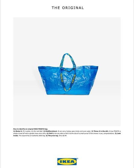Ikea ad showing 'original' Balenciaga bag - the Ikea 99 cent version