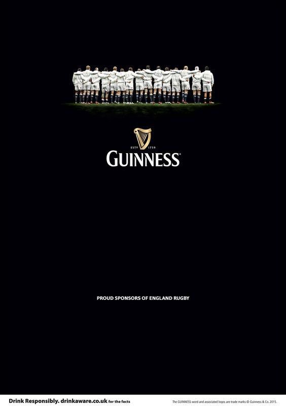 Guiness ad. Players in white at top resemble froth on a stout beer