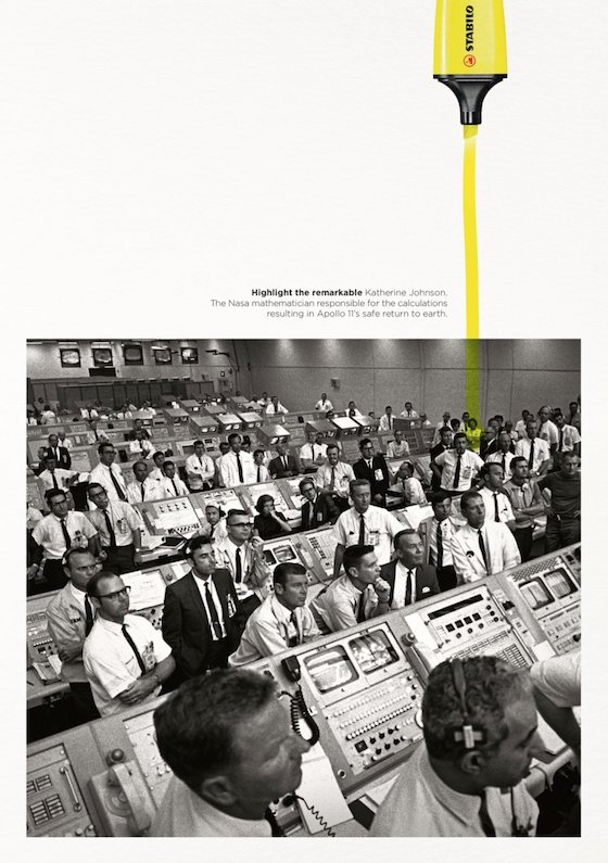 NASA Mission Control photo with yellow highlight on Katherine Johnson whose calcs allowed safe return of Apollo 11