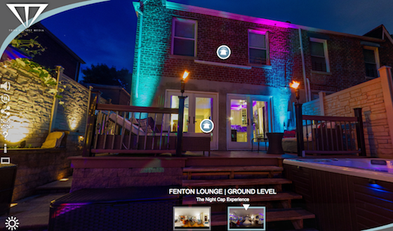 Night shot of exterior of property showing virtual control buttons