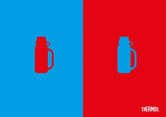 Identical illustrations of a thermos - identical but with colors reversed, highlighting hot and cold application of a thermos