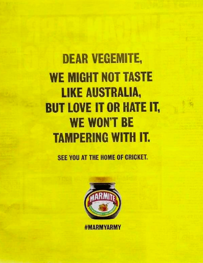 marmite ad - love it or hate it, we won't be tampering with it