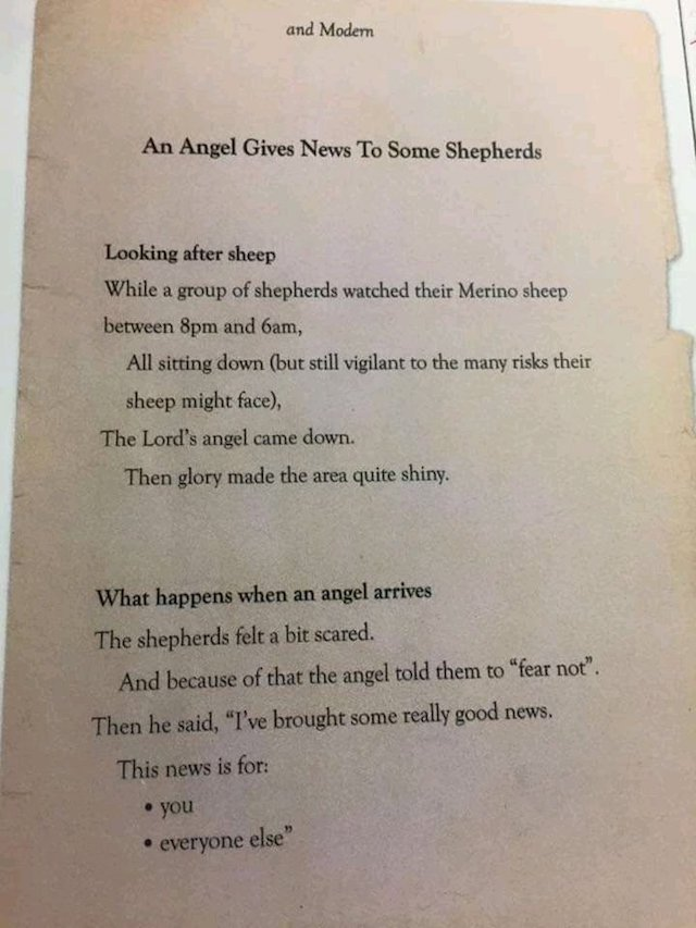 Modern language version of 'when shepherds watch their flocks'