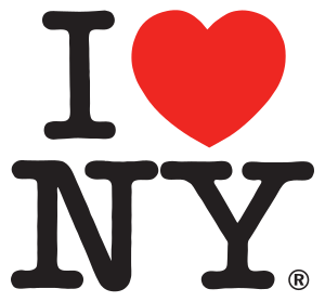 I love NY logo. Big red heart replaces the word 'love'