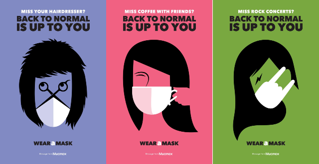Back to Normal is Up to You. Posters where mask design evokes the desired normality - eg shaped like coffee cup